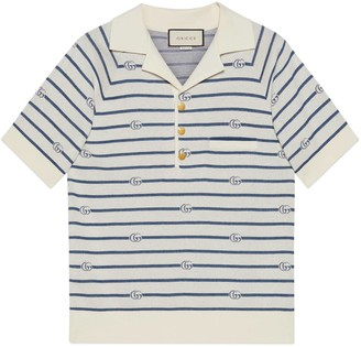 Gucci Double G stripe wool cotton polo