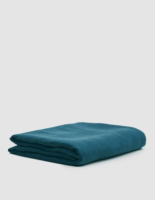Hawkins New York King Size Simple Linen Flat Sheet in Peacock
