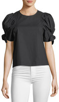 Sea Puff-Sleeve Voile Top