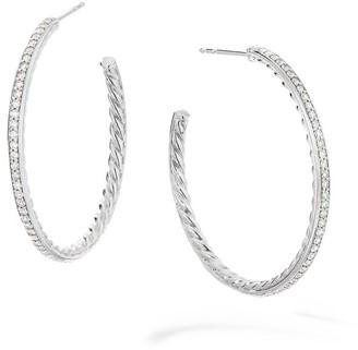 David Yurman Medium Hoop Earrings with Pave Diamonds