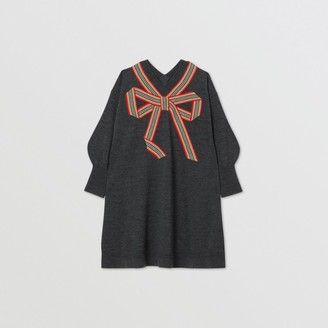 Burberry Childrens Icon Stripe Bow Merino Wool Silk Sweater Dress