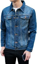 Glestore Mens Pattern behind Denim Jacket Long Sleeve Casual Jackets XS-XXL