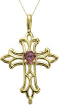 JCPenney FINE JEWELRY Genuine Rhodolite 10K Yellow Gold Cross Pendant Necklace