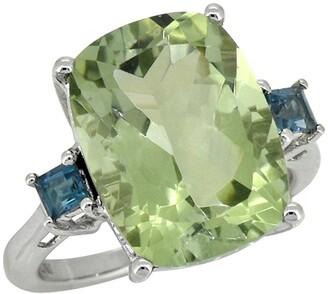 Nitya Sterling Silver Prasiolite London Blue Topaz Ring