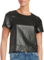 Design Lab Lord & Taylor Faux Leather Grommet Top