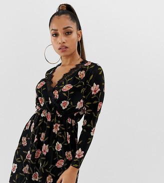 ASOS DESIGN Petite mini plisse wrap dress with lace trim in floral print