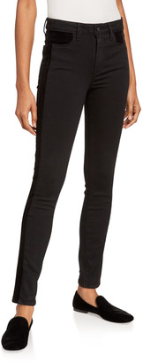 Paige Hoxton Velvet-Trim Ultra Skinny Jeans