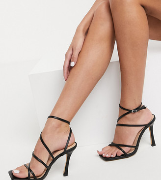 London Rebel wide fit strappy heeled sandals in black