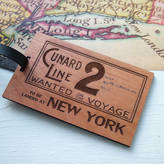 Seahorse Vintage Ticket Personalised Luggage Tag