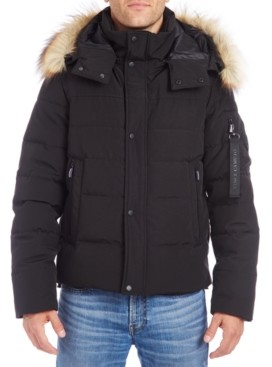 Vince Camuto Men's Bomber with Removable Faux Fur Trimmed Hood