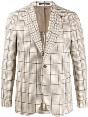 Tagliatore single breasted checked tweed blazer
