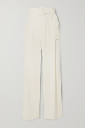 Co Belted Satin-jersey Wide-leg Pants - Ivory