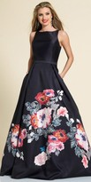 Dave and Johnny Floral Print A-line Evening Dress