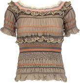 Peter Pilotto Atmos off-the-shoulder ruffled cotton-blend top