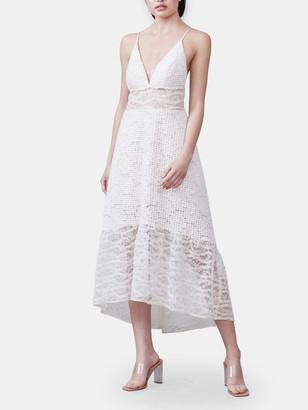 Allen Schwartz Bella Deep V-Neck Mixed Lace Dress