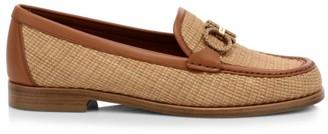 Salvatore Ferragamo Rolo Leather-Trimmed Raffia Loafers