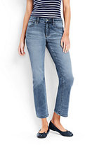 Lands' End Women's Tall Mid Rise Kick Crop Jeans-Bayshore Indigo Wash