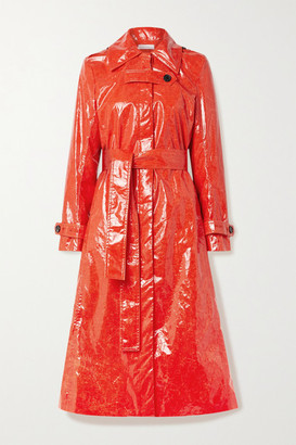 Beaufille Fini Belted Pu Trench Coat - Tomato red