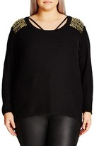 City Chic Plus Size Women's Embellished Shoulder Sweater