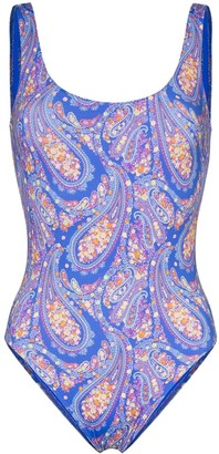 Etro Open-Back Paisley-Print Swimsuit