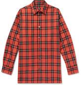 Raf Simons Oversized Leather-Trimmed Checked Denim Shirt
