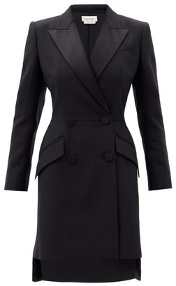 Alexander McQueen Double-breasted Wool-blend Blazer Mini Dress - Black