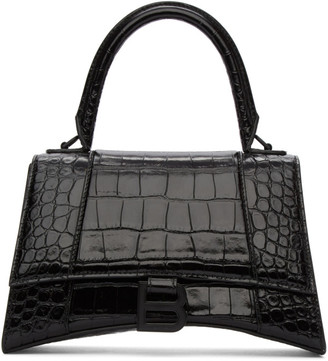 Balenciaga Black Croc Small Hourglass Top Handle Bag