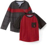 English Laundry Engine Red Raglan Tee & Gray Stripe Henley - Toddler & Boys
