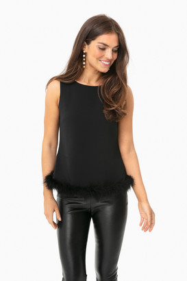 Sail to Sable Black Sleeveless Top with Fur Trim