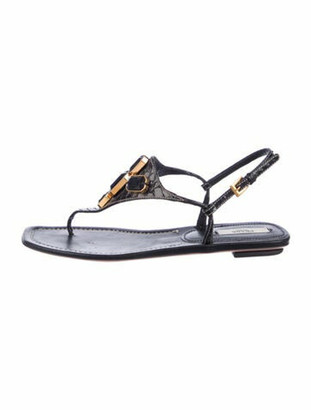 Prada Leather Crystal Embellishments T-Strap Sandals Black