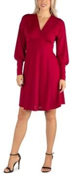 24seven Comfort Apparel Women's Long Sleeve V-Neck Cocktail Dress