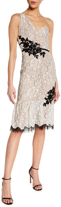Dress the Population Dallas One-Shoulder Beaded Applique Lace Dress
