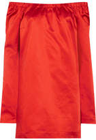 Isa Arfen Off-the-shoulder Cotton-blend Satin Mini Dress - Red