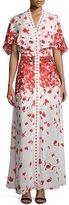 Alexis Jeannie Poppy-Print Cape Maxi Dress