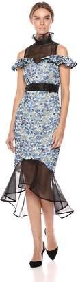 Elliatt Women's Apparel Women's Juliet HIGH Neck Cold Shoulder MIDI Dress