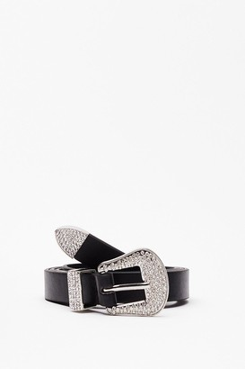 Nasty Gal Womens Callin' All Country Queens Diamante Belt - Black - One Size