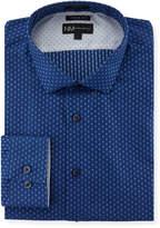 Neiman Marcus X-Trim Regular-Finish Flower Dress Shirt, Blue