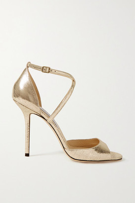 Jimmy Choo Emsy 100 Metallic Lizard-effect Leather Sandals - Gold