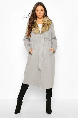 boohoo Maternity Faux Fur Collar Belted Wool Look Coat