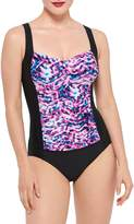Christina Blue Abstract-Print 1-Piece Swimsuit