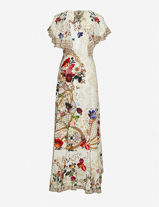 Camilla Fairy Godmother floral-print embellished silk maxi dress