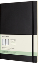 Moleskine 12-Month Extra Large Weekly Soft Cover Diary/Notebook 2018, Black