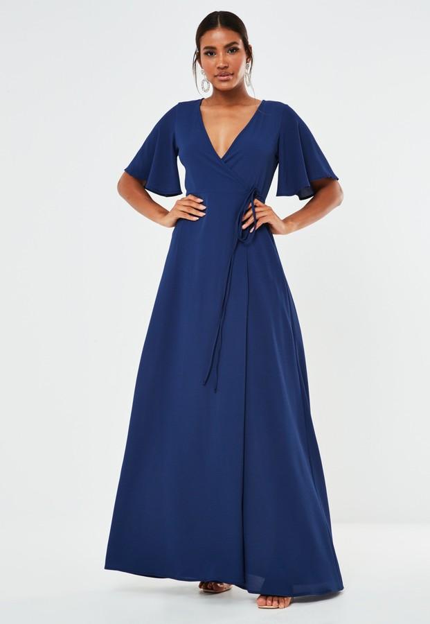 Missguided Navy Crepe V Neck Wrap Maxi Bridesmaid Dress