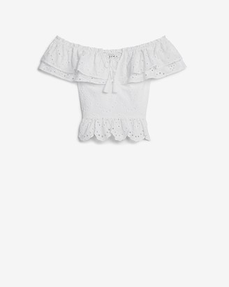 Express Eyelet Lace Off The Shoulder Peplum Top