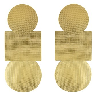 Annie Costello Brown Weave Popova Earrings - Yellow Gold