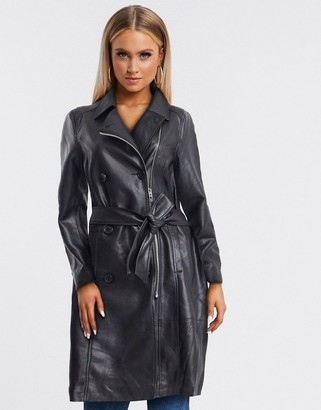 Blank NYC leather trench in black