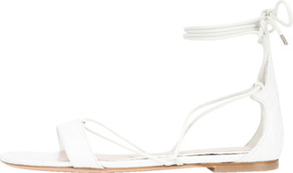 Alexander McQueen Stamped Croc Ankle Wrap Sandal