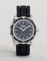 Slazenger Silicone Bracelet Watch In Black And Silver