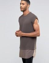 Asos Oversized Sleeveless Crew Sweater with Contrast Jersey Hem