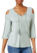 Style And Co. Petite Cold-Shoulder Peasant Top